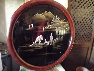 Antique Chinese / Oriental Picture On Round Wooden Lacquered Board