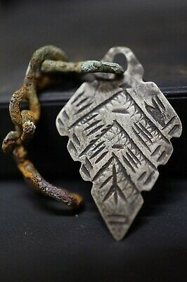 Ancient Viking Silver Amulet. Norse Pendant on Bronze Chain, circa 950-1000 Ad.