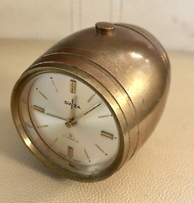 Vintage Swiss Swiza 8 Days 7 Jewels Brass Barrel Shaped Alarm Clock