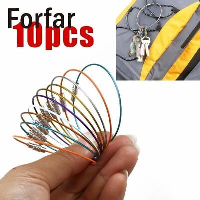 Forfar EDC Portable 10pcs Metal Wire Cable Carabiner Chain Key Ring Keychain