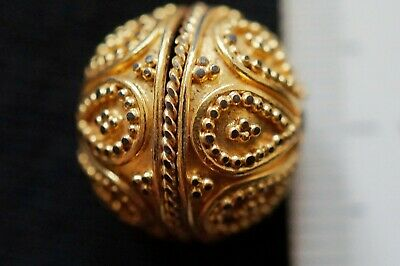 Ancient Viking Gold Gilded Large Bead Amulet, circa 950-1000 Ad. Mint & Complete