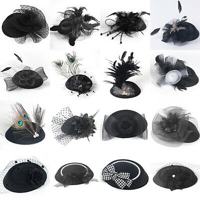 Black Lady Pillbox Hat Cap Fascinator Feather Hair Clip Cocktail Party Accessory