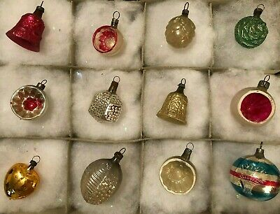 12 Antique Glass Feather Tree XMAS ORNAMENTS Bells Heart Flower Indents 1920s
