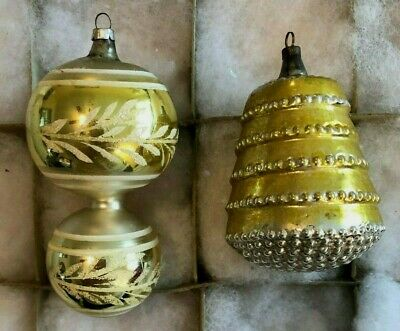 Antique Double Ball Barbell Ringed Bell Silver & Gold Xmas Ornaments German 1940