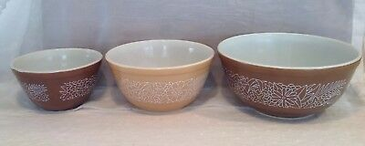 Vintage Pyrex Brown Woodland Mixing Bowls Set of 3 Nesting Bowls 401,402,404