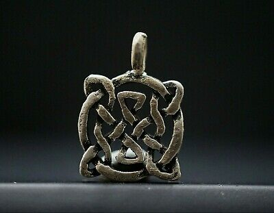 Ancient Viking Silver Amulet. Rare Openwork Pendant of Eternity Knot 950-1000 Ad