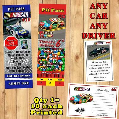 Nascar Ticket Party Invitation Style Pit Pass Printable And