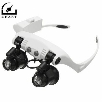 10X 15X 20X 25X LED Magnifier Double Eye Glasses Loupe Lens Jeweler Watch Repair
