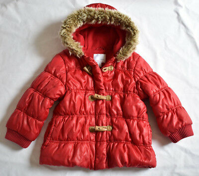 NEXT GIRL'S 2-3 YRS 98 Cm RED WINTER PADDED COAT GOOD USED CONDITION