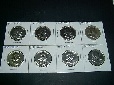 Franklin - Half Dollar - Proofs - 8 - 1957 - 1959 - Franklin Proof Coins