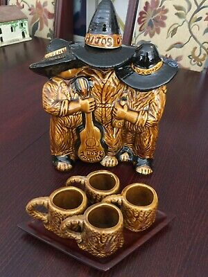 VINTAGE CERAMIC TEQUILA DECANTER (empty) - Mariachi Band w/4 shot glasses