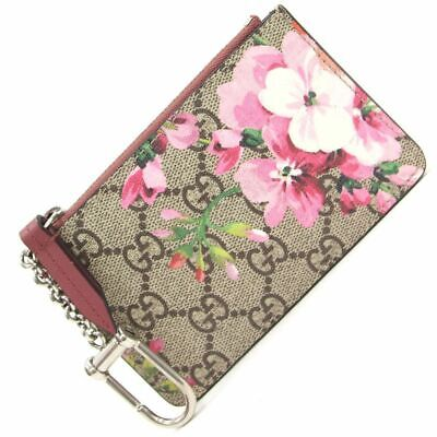 6e49e3d13be020 Gucci GG Blooms Beige Brown Pink Coated Canvas Leather Used Coin Purses Key  Case