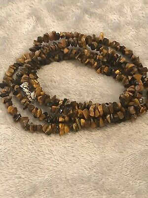 """QVC Tigers Eye Sterling Necklace 40"""""""