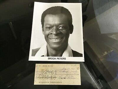 BROCK PETERS Black Activist & Actor 1961 Hand Signed Bank Check & 8X10 Photo #1
