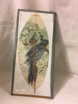 Antique Asian Chinese Leaf Painting Art Peacocks Very Fine Stamped and Signed
