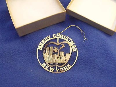 """Brass  Christmas Ornament """"New York"""" - Delicate 3D, w/Gift Box"""