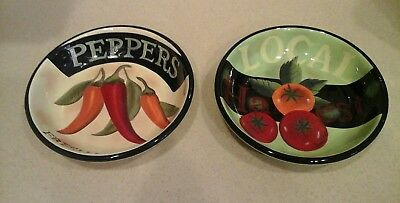 2 Certified Tomatoe Pepper Locally Grown serving Pasta bowls Farm House