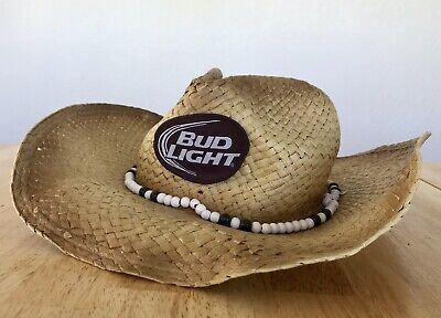 a5426234bc224 Bud Light Straw Beach Party Cowboy Hillbilly Hat Beads Bendable NWT