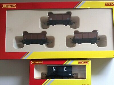 """Hornby x3 Mineral Wagon Pack plus Closed Van """"New"""""""