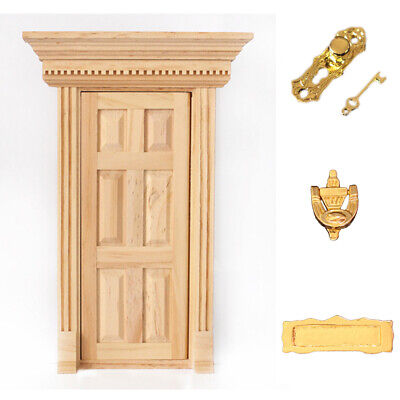 1:12 Doll House Miniature Home Decor Wood Color Wooden Door W/ Hardware