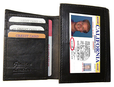 BLACK MEN'S LEATHER CREDIT CARD HOLDER PLAIN TRIFOLD WALLET ID USA Seller