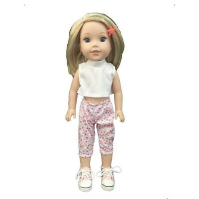 Fashion Clothes White Crop Top + Floral Pants for 14'' AG American Doll Doll