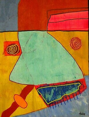 FRENCH TOAST MAN Hoke Outsider Painting Abstract Art Brut RAW Vision Original