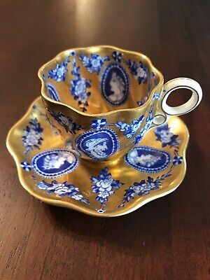 Antique COALPORT AD 1750 England Demitasse Cup & Saucer, Gilt Decoration, Cameo