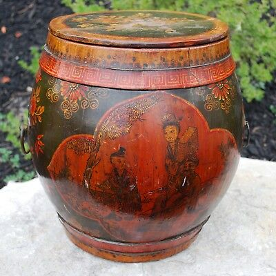 ANTIQUE CHINESE WOODEN RICE BARREL, Hand Painted Figures, Wax seal,