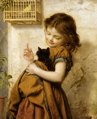 Dream-art Oil painting her favorite pets young girl with cat and bird on canvas