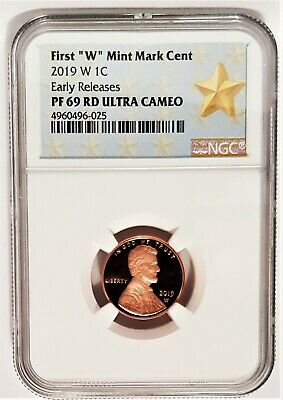 "2019 W Proof 1C First ""W"" Mint Mark Cent Penny Lincoln NGC PF69 RD Ultra Cameo"