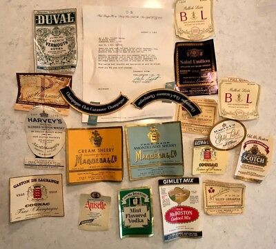 Vintage Collectible Liquor Paper Labels and letter NY France Europe 1960's