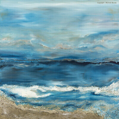 Large Ocean Art Coastal Canvas Print ~ Abstract Seascape Blue Turquoise Silver
