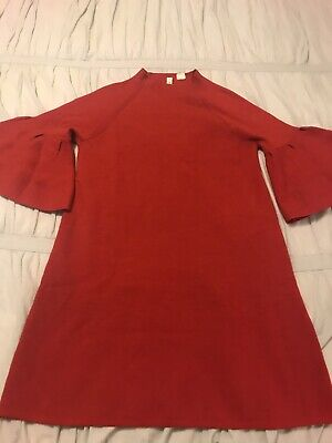 30794003aec3 Anthropologie Moth Red Ruffle-Sleeve Mock Neck Tunic Sweater Dress Small