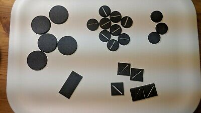 Warhammer 40k Age of Sigmar Round, Square, Solid, Slotted bases 40mm, 25mm, 60mm