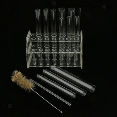 12PCS Clear Glass Test Tube Set w/ Rack Stand & Cleaning Brush for Classroom