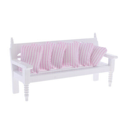 1:12 Dollhouse Miniature Living Room Furniture Wood Chair wi/ Pink Cushions