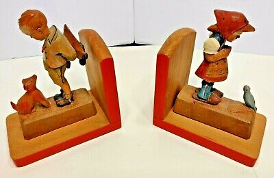 RARE Pair of Vintage Antique Carved Wood Bookends 1900 Handmade & Painted!
