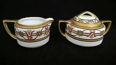 Antique Nippon Hand Painted Art Deco Decorated Covered Sugar + Creamer