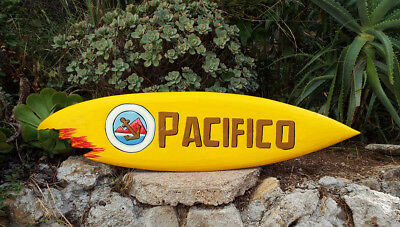 Pacifico Wood Surfboard Beer Tiki Bar Sign w/ shark bite Pub Man Cave 39""