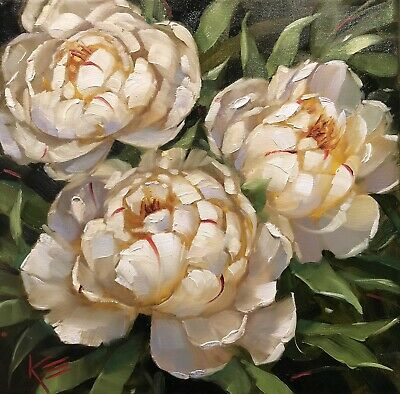 Original Oil Painting Peonies, White, Floral Art, Flowers, By Krista Eaton