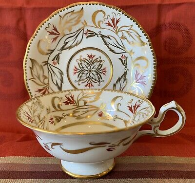 Royal Chelsea English Bone China Gold Floral Gold Gilt Tea Cup Saucer Set