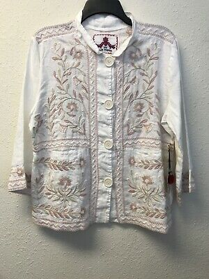 67b9afd74f7d NWT Johnny Was JWLA Embroidered 3/4 SLV White Linen Pea Coat Jacket M  Buttons