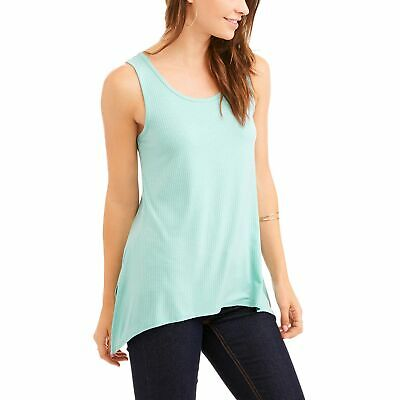 83b17fb5b24fa Faded Glory Women s Lace Yoke Peasant Swing Tank With Open Back Detail AQUA  M