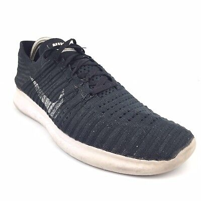70328190efd0 Men s Nike Free RN Flyknit Black Running Shoes Size 11 White Sneakers  831069-001