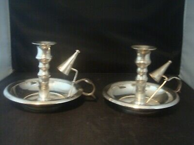 Superb Shiny Pair Vintage/antique Silver Plate Chamber Candle Holder Wee Willy W