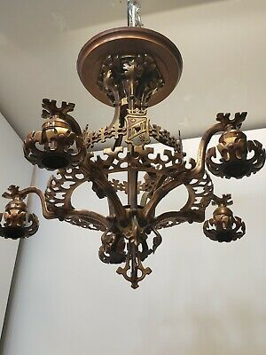Gothic Victorian Painted Bronze Brass Chandelier Herald Crest Medieval Shield