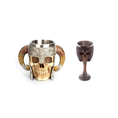 2 Pack Wine Goblet Warrior Halloween Skull Mugs Set Beer Cup Party Gift