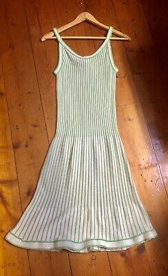 LUGANO Genuine Vintage 1970s Fitted Knit Dress Green & White Striped