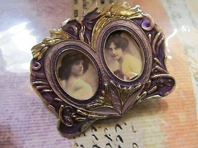 Vintage Art Deco Style Enamel Double Picture Frame Pin Brooch marked REO